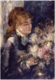 Pierre Auguste Renoir Woman with Lilacs Art Print Poster Photo