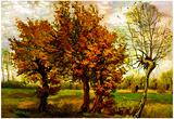 Vincent Van Gogh Autumn Landscape with Four Trees Art Print Poster Posters