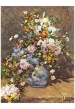 Pierre-Auguste Renoir (Still life with a large flower vase) Art Poster Print Poster