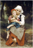 William-Adolphe Bouguereau Breton Brother and Sister Art Print Poster Prints