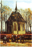 Vincent Van Gogh Congregation Leaving the Reformed Church in Nuenen Art Print Poster Poster