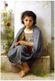 William-Adolphe Bouguereau The Little Knitter Art Print Poster Prints
