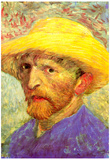 Vincent Van Gogh Self-Portrait with Straw Hat 3 Art Print Poster Print