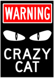 Warning Crazy Cat Sign Poster Posters