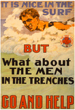 Surfers Help Men in Trenches War Propaganda Vintage Ad Poster Print Print