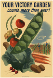 Your Victory Garden Counts More Than Ever WWII War Propaganda Art Print Poster Láminas