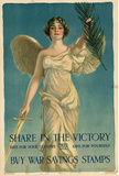 Share in the Victory Buy War Savings Stamps WWI War Propaganda Art Print Poster Masterprint