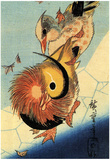 Utagawa Hiroshige Mandarin Duck on Frozen Pond Art Print Poster Posters