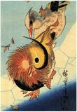 Utagawa Hiroshige Mandarin Duck on Frozen Pond Posters