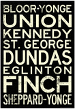 Toronto Metro Stations Vintage Travel RetroMetro Poster Posters