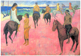 Paul Gauguin Riding on the Beach Art Print Poster Posters
