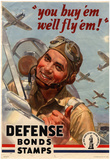 You Buy Em We'll Fly Em Defense Bonds Stamps WWII War Propaganda Art Print Poster Print
