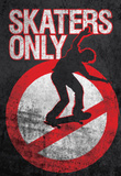 Skaters Only (Skating on Sign) Art Poster Print Masterprint