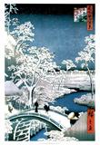 Utagawa Hiroshige (Drum Bridge at Meguro) Art Poster Print Billeder