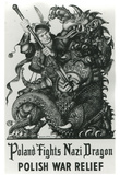 Poland Fights Nazi Dragon Polish War Relief WWII Military Propaganda Art Print Poster Print