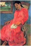 Paul Gauguin (Woman in red dress) Art Poster Print Poster