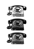 Vintage Rotary Telephone b&amp;w Pop Art Print Poster Prints
