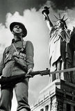 Soldier and Statue of Liberty New York City Archival Photo Poster Print Masterprint
