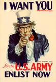 Uncle Sam I Want You for U.S. Army WWII War Propaganda Art Print Poster Masterprint