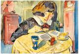 Walter Gramatte Writing Girl Sonia Gramatte Art Print Poster Prints