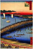 Utagawa Hiroshige Ryogoku Bridge and Great Riverbank Art Print Poster Prints