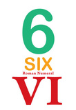 Number 6 Sign with Roman Numeral Banner Poster Masterprint