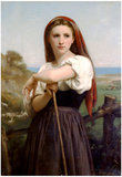 William-Adolphe Bouguereau Young Shepherdess Art Print Poster Posters