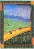 Vincent Van Gogh Japanese Bridge in the Rain after Hiroshige Art Print Poster Posters