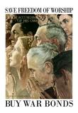 Norman Rockwell Save Freedom of Worship WWII War Propaganda Art Print Poster Prints