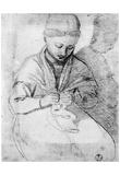 Santi di Tito (Young Woman Knitting) Art Poster Print Prints