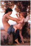 William-Adolphe Bouguereau A Young Girl Defending Herself Against Eros Art Print Poster Posters