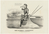 The Gunboat Candidate At the battle of Malvern Hill Political Cartoon Art Print Poster Prints