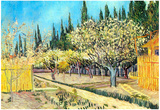 Vincent Van Gogh Flowering Fruit Garden Surrounded by Cypress Art Print Poster Poster