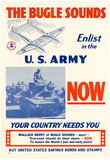 The Bugle Sounds Enlist in the U.S. Army Now WWII War Propaganda Art Print Poster Photo