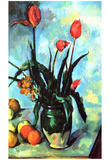 Paul Cezanne (Still Life, Vase with tulips) Art Poster Print Afiche