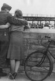 World War II Soldier and Girl Archival Photo Poster Print Masterprint
