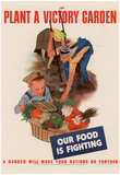 Plant a Victory Garden Our Food is Fighting WWII War Propaganda Art Print Poster Plakater