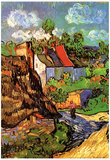 Vincent Van Gogh Houses in Auvers Hillside Art Print Poster Póster