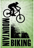 Mountain Biking Green Sports Poster Print Masterprint