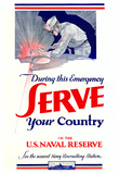 Serve Your Country US Naval Reserve WWII War Propaganda Art Print Poster Posters