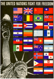 The United Nations Fight for Freedom WWII War Propaganda Art Print Poster Posters