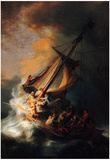 Rembrandt Christ in the Storm on the Lake Genezareth Art Print Poster Plakater