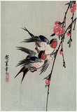 Utagawa Hiroshige Gekka Momo ni Tsubakura Moon Swallows and Peach Blossoms Art Print Poster Print