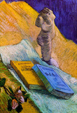 Vincent Van Gogh Still Life with Plaster Statuette a Rose and Two Novels Art Print Poster Masterprint