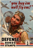 You Buy Em We&#39;ll Fly Em Defense Bonds Stamps WWII War Propaganda Art Print Poster Masterprint