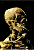 Vincent Van Gogh (Skull with Cigarette) Art Print Poster - Afiş