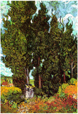 Vincent Van Gogh Cypresses with Two Female Figures Art Print Poster Print
