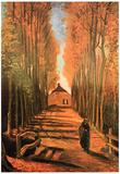 Vincent Van Gogh Avenue of Poplars in Autumn Art Print Poster Posters