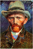 Vincent Van Gogh Self-Portrait with Grey Felt Hat Art Print Poster Prints