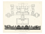 Plan and Elevation for a Roman Villa Giclee Print by J. Wilkes